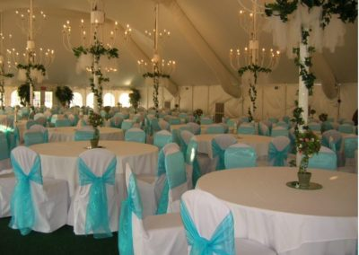 White chair covers with Turquoise Chair ties