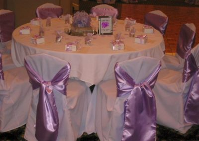 White chair cover with Satin Lilac chair tie