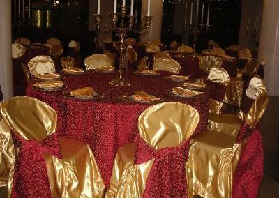 Gold print tablecloth