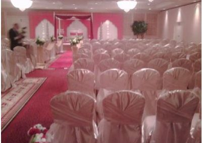 Champaign satin chair covers with Champaign organza chair ties
