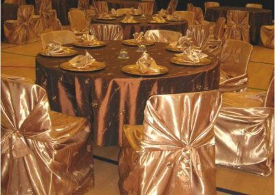 Specialty silk self-tie chair cover and Cocoa burnt chocolate overlay