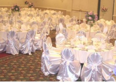 White satin self-tie chair covers