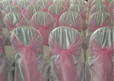 Satin Chair cover/ with Pink sash