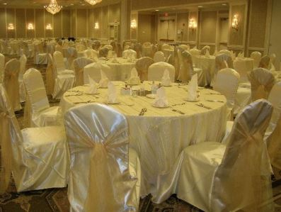 Ivory satin chair cover with Gold strip sheer overlay