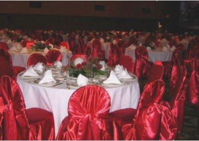 Red satin chair cover with Red sash