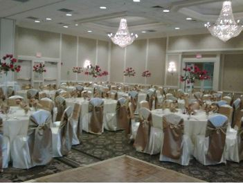 Ivory satin chair covers with Antique gold satin chair ties