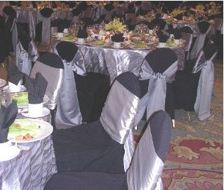 Black chair covers w/ Silver satin tie