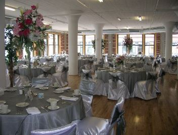 White satin underlay with Silver organza overlay