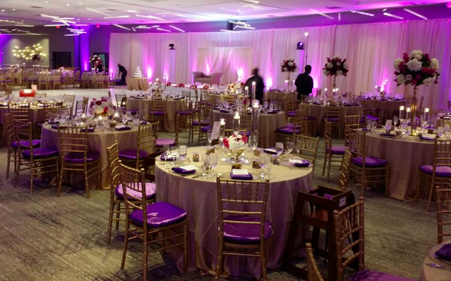 Gold Chiavari With Purple Satin Cushion Covers All Seasons Party