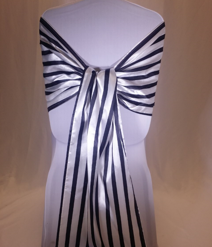 Black And White Striped Satin Chair Sash All Seasons Party Linen Rental