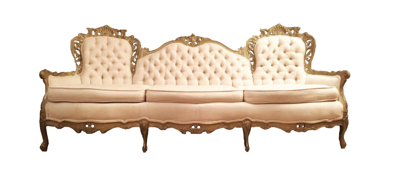 Cream And Gold Victorian Sofa