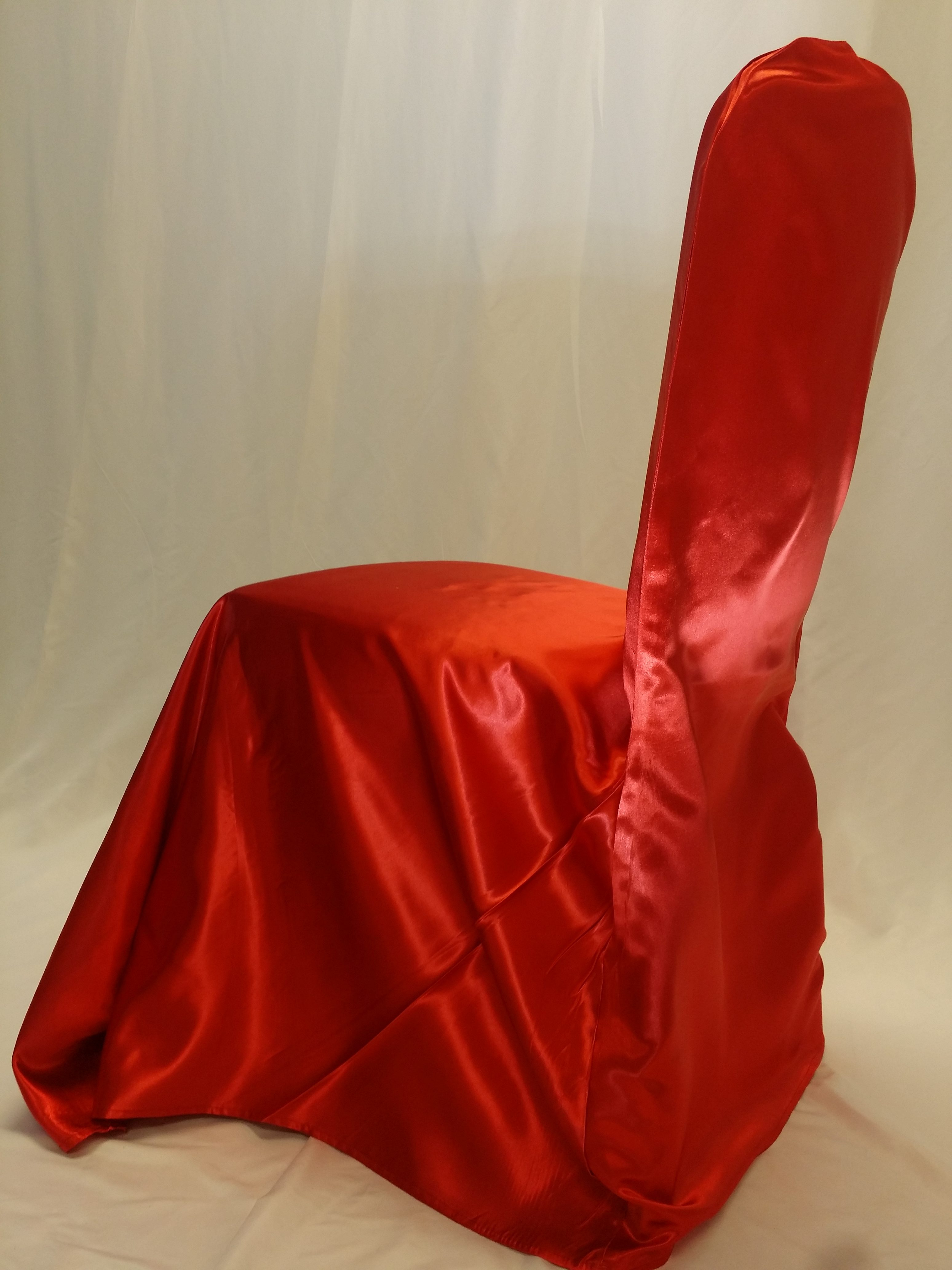 Cardinal Red Satin Chair Cover All Seasons Party Linen