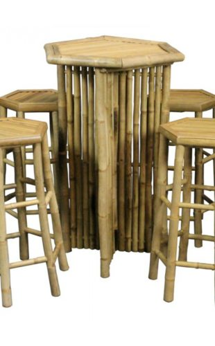 Bamboo Bar Table and 4 Stools Set - All Seasons Party Linen Rental