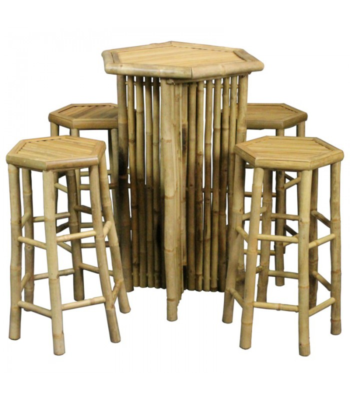 Bamboo Bar Table And 4 Stools Set