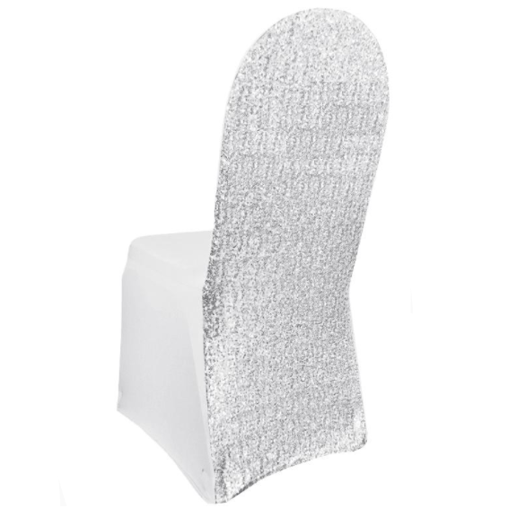 Sensational White Sequin Spandex Chair Cover Machost Co Dining Chair Design Ideas Machostcouk